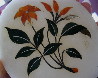 1909 Antique Taj Mahal Sample PIETRA DURA Inlay Gemstone Marble with Provenance; Carnelian and Agate Jade MOP Inlaid Florals and leaves