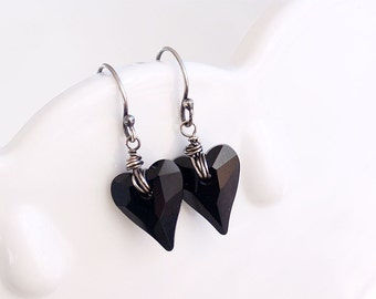 Black Sterling Silver Heart Earrings - Swarovski Jet Hearts on Oxidized Sterling Silver - Wire Wrapped, Gift for Her, Romantic