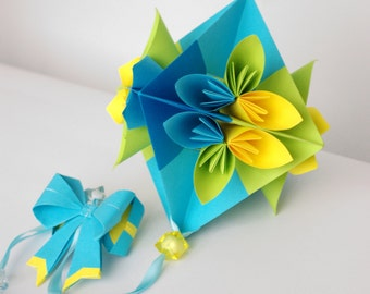 Mobile - Paper Flowers - blue, yellow, green - Origami - paper goods - nursery mobile, baby mobile, bedroom decor -anniversary