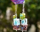 Sterling Silver Blue Green and Purple Glass Millefiori Triplet Dangle Earrings