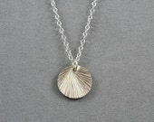 Shiny Brushed Sterling Silver Disc Necklace, Sterling Silver Chain, Simple, Sweet, Pretty Jewelry