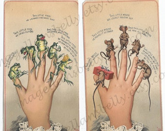 Tiny Frogs and Mice on Fingertips Instant Digital Downloads TWO 1884  RaRE Hawley & Hoops Chocolate Victorian Trade Cards