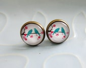 Lolly Studs - Pretty Birdy - cute teal bird silhouettes on a flower branch bronze and glass post stud earrings