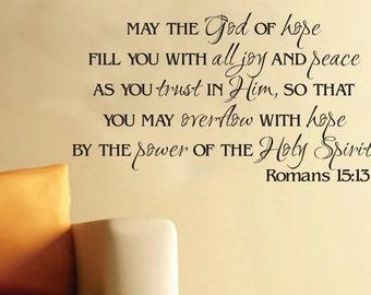 Wall Art Vinyl Romans 15:13 God of Hope Scripture Bible Verse Vinyl Decal RO15V13-0002
