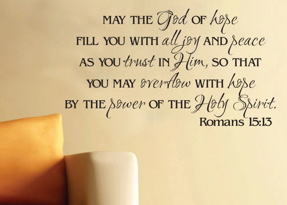 Wall Art Vinyl Romans 15 13 God Of Hope Scripture Bible Verse