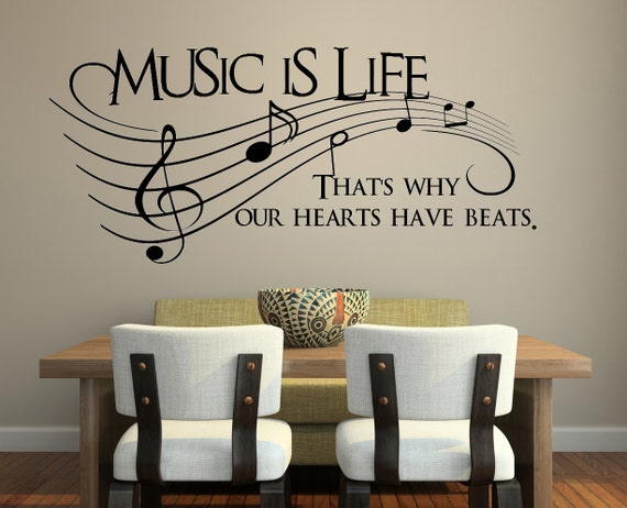 Music is life.. That's why our hearts have beats Decal, Vinyl Decal, Wall Decal, Wall Sticker, Wall Decals, As Seen On Glee, Decal