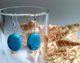 Earrings, Turquoise and Sterling Silver Earrings, Turquoise Earrings, Sterling Earrings, Stone Earrings, Blue Earrings, Aqua Earrings