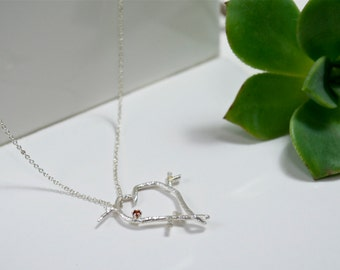 Handmade Valentine Twig Love Necklace, Eco Friendly Sterling Silver Twig Heart Necklace