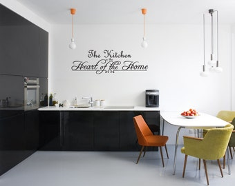 The Heart of the Home Kitchen Wall Sticker Decal Quote Vinyl Art Lettering (J195)