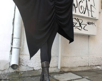 Turtleneck Black Loose Asymetric Top / Extravagant Blouse / Black Tunic /Bat Sleeves Top A12037