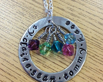 """Personalized Hand-Stamped Mom 1 1/4"""" Washer Necklace with Kids' Names and Birthstones  - Mother's Day Gift"""