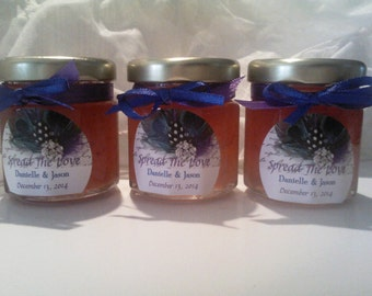 Peacock Wedding Jam Favors/ 50 Shower or Engagement or Save The Date Party Favors