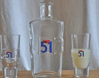 French 51 Pastis Glass Water Carafe Pitcher & 2 Pastis 51 Bistro Glasses Decor  Bar Cafe France