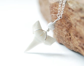 Mano necklace - a sterling silver shark tooth necklace, delicate modern everyday necklace, edgy necklace, handmade, maui, hawaii