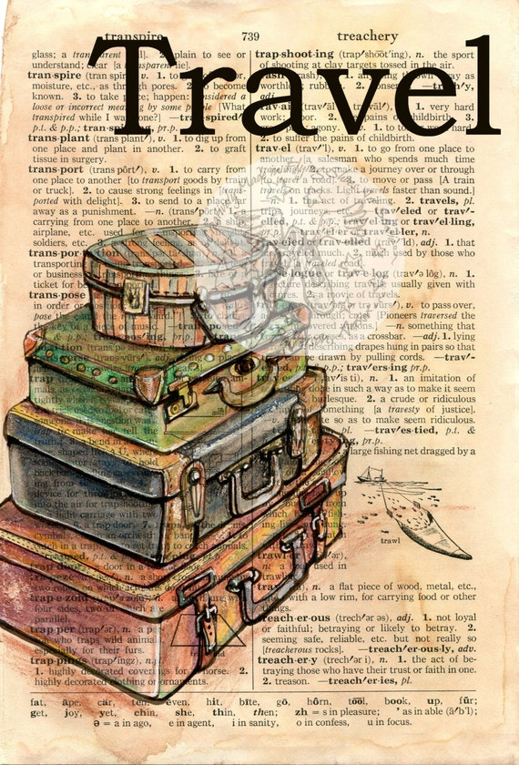Items similar to PRINT: Travel Mixed Media Drawing on ...