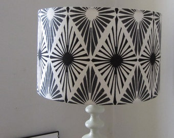 Modern, Monochrome Print Ceiling Pendant Light Shade Or Large Lampshade. 35cm Diameter  - Suits UK and European light Fittings.