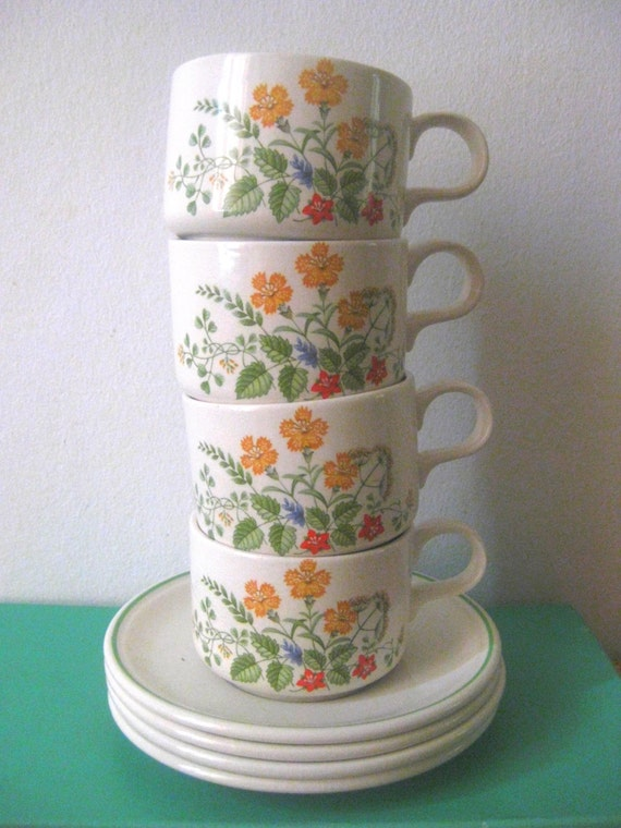 Vintage English Teacups Baratts of Staffordshire, teacup and saucer, English tea set, spring finds, porcelain cup, Made in England