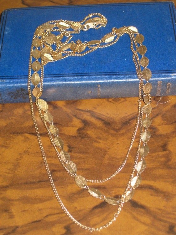 Vintage Grecian jewelry, gold leaf necklace,  triple strand Necklace, gold necklace,  greek necklace,