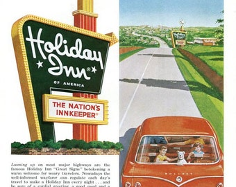Vintage Holiday Inn Ad 1960's Family Vacation Red Station Wagon