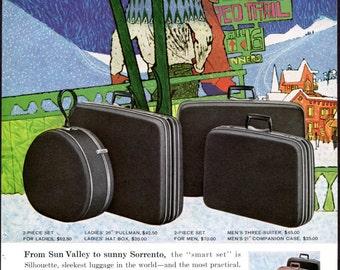 1960 Samsonite Ad Silhouette Luggage Suitcase Bag Skiing Ski Resort Sun Valley Sorrento Vintage Original Print Ad Wall Decor Ski Chair Lift