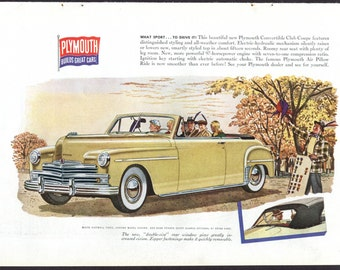 1949 Plymouth Convertible Club Coupe 1940s Vintage Car Ad Detroit Country Drive Yellow Car Fall Colors