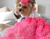 Ma Cherie Rose Pink Paris Eiffel Tower Couture Dog Harness Dress