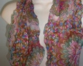 Reserved for Cathy   Vintage Ladies SCALLOPED Edge Mod Colored Dainty Neck SCARF Spring Summer Splash of Color