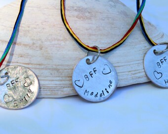 Cool BFF- Personalized Locket Necklace-Hand Stamped Friends Name