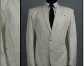 Vintage 1980s White Thierry Mugler Jacket Avant Garde Rocker 42 44