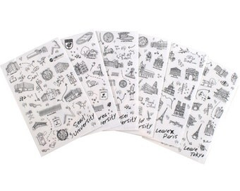 World University Sticker Set - Vintage Sticker Set - Deco Sticker Set - Diary Sticker - 6 sheets