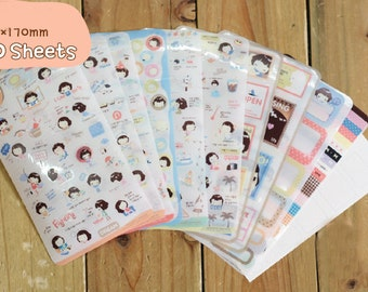 Helloday Sticker Set Ver 2 -  Masking Sticker Set - Diary Stickers - Deco Sticker Set - 10 sheets