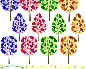 INSTANT DOWNLOAD. Leafy trees clip art set, 12 designs for Personal and commercial use.