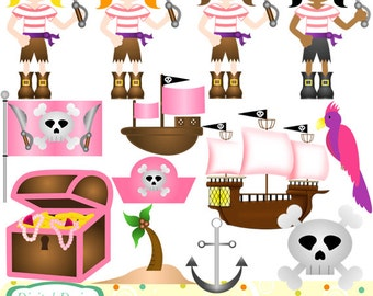 INSTANT DOWNLOAD. Pirate Girls clip art set, 13 designs for Personal and commercial use.