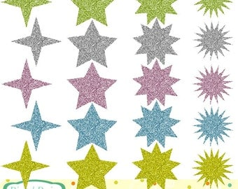Pastel Glitter Stars, 20 designs. INSTANT DOWNLOAD for Personal and commercial use.