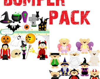 Halloween clip art bumper pack. INSTANT DOWNLOAD Personal and commercial use.