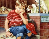 "Dog Puppies Little Boy ""I Need Money"" Antique Art Print Restored - 1930s Frances Tipton Hunter - Pet Store  #190"