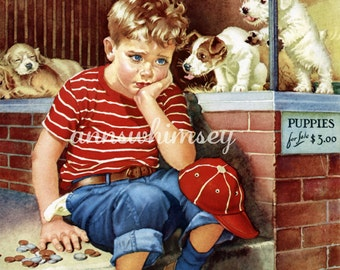 "Dog Puppies Little Boy ""I Need Money"" Antique Art Print Restored - 1930s  Pet Store   Print #190"
