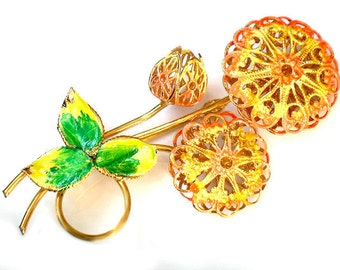 Enamel Filigree Flower Brooch Orange Yellow Collectible Jewelry Autumn Fashion Vintage Flower Brooch