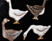 Hand Painted Refrigerator Magnets Brown or White Geese, Home Decor Each Sold Separately