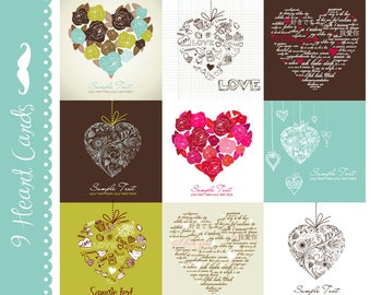 Digital Card Set of 9 Designs for Scrapbooks, Cards, Collages, Wedding, Valentine's day and More - Hearts