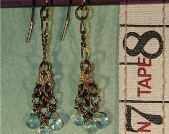 3 Crystal Blue Apatite Gemstone Earrings