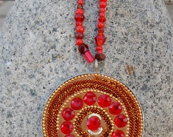 Red Beaded Necklace w/ Large Round Statement Pendant