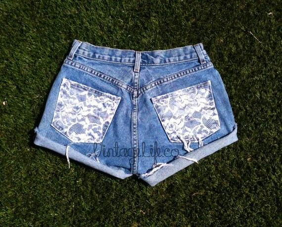 Vintage High Waist Jean Shorts Lace Pocket High Waisted Denim Shorts