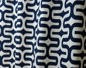 Navy Blue White Modern Geometric Embrace Curtains - Grommet - 84 96 108 or 120 Long by 25 or 50 Wide - Optional Blackout or Cotton Lining