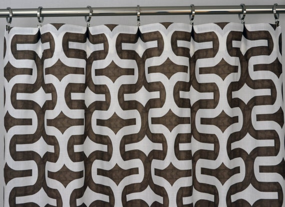 Brown white modern geometric embrace curtains rod pocket 84 96 108
