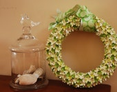 Pretty in Green Paper Wreath in lime green and cream with paisley ribbon
