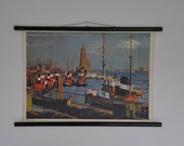SALE Authentic Mid Century Classroom Poster. Hamburg. Pull Down School Chart. Genuine. Germany. Pull down chart map School