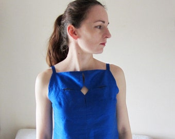 SALE -30%!!! Structured, geometrical cut-out top, pure silk, electric blue colour. Boxy tank top for her, one of a kind, size small.