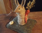PRIMITIVE SPRINGTIME BUNNY rabbit pinkeep