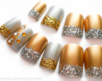 Metallic Fake Nails, Acrylic Nails, False Nails, Press on, Nails, Gold, Silver, 3D, Rhinestone, Glitter, Vegas
